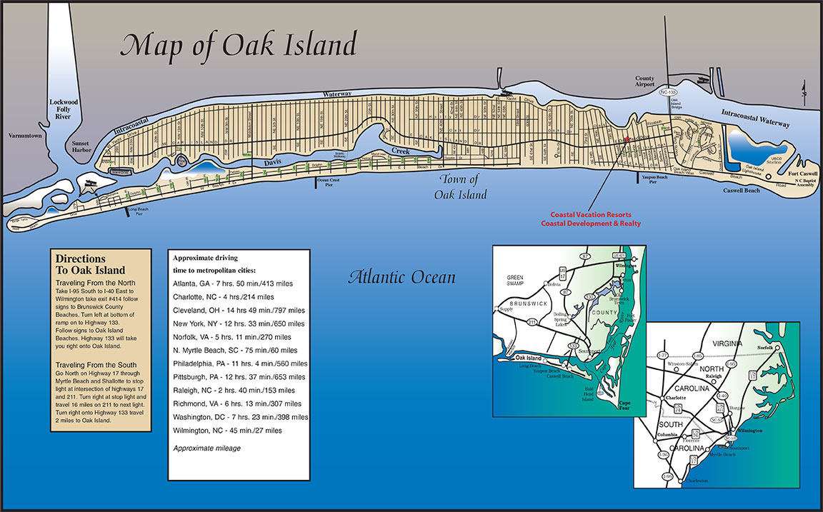 Directions to Oak Island NC | Map of Oak Island NC